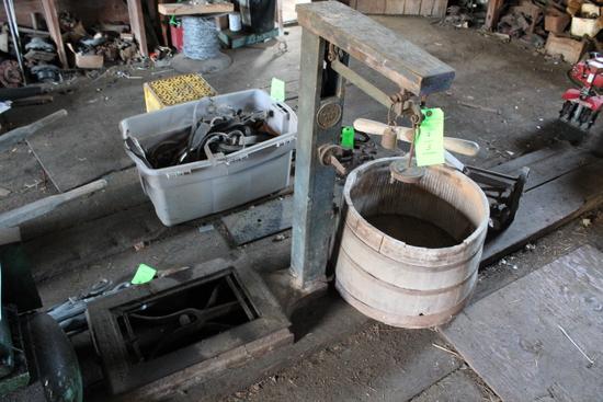 Howe Platform Scale, Antique Push Mower & Barrel Planter