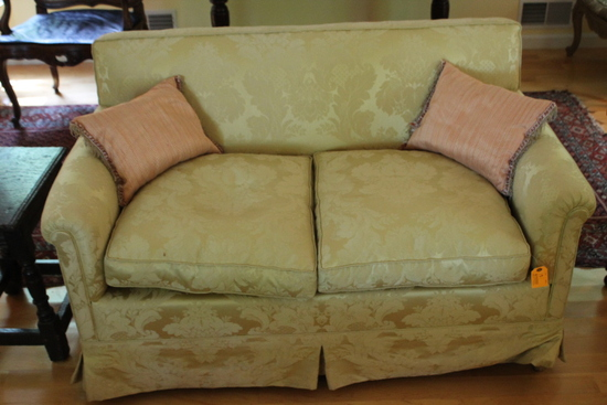 Damask Upholstered Love Seat with Down Cushions and Pillows