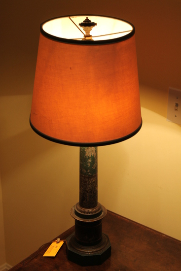 Vintage Polychrome Tin Column Form Table Lamp