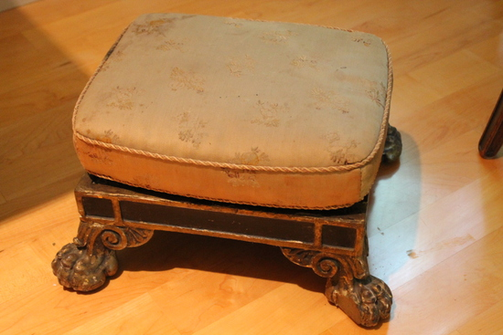 Continental Carved Wood Foot Stool with Pillow