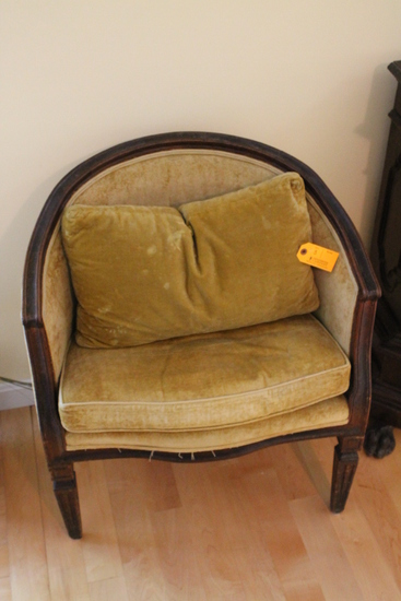 Antique Continental Walnut Framed Upholstered Chair