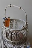 White Painted Metal Basket