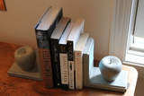 Pair of Painted Wood Apple Form Bookends and Books