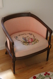 Wood Framed Arm Chair with Needlepoint Seat