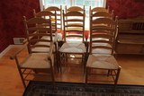 (8) Turned Ash Ladderback Chairs with Rush Seats