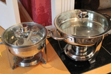 (2) Stainless Steel Chafers with Lids