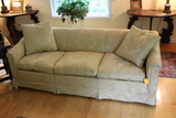 Damask Upholstered Sofa with Down Cushions and Pillows
