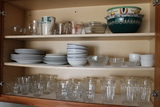 Contents of Cabinet (Glassware/China/Pyrex)
