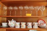 (8) Wine Stemware Qty (10) Assorted Porcelains