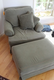 Paul Robert  Upholstered Easy Chair and Ottoman