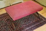 Vintage Continental Walnut Upholstered Bench
