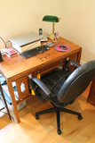 Vintage Oak Library Desk and Adjustable Height Swivel Office Chair