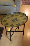 Antique Transfer Decorated Metal Tray with folding Wood Stand