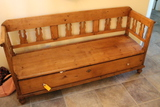 Country Pine Bench with Drawer