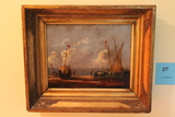 Contemporary Oil on Board Painting Depicting a Harbour Scene