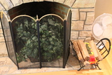 4 Section Folding Fireplace Screen and Iron Wood Holder