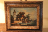 Early Oriental Oil on Canvas Painting Depicting a Fishing Port