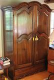 Large Vintage Continental Arch Top Hardwood Linen Press