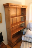 Pine Bookcase over Drawer Carved