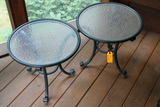 Pair of Metal Patio Stands with Glass tops