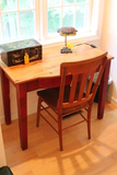 Contemporary Pine One Drawer Desk with Oak Side Chair