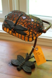Cast Metal Dragonfly Desk Lamp w/ stained glass shade