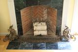 Vintage Iron Fireplace Fender/Vintage Brass Scrollwork End Pieces