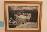 Thomas Curtain Oil on Artist Board Painting
