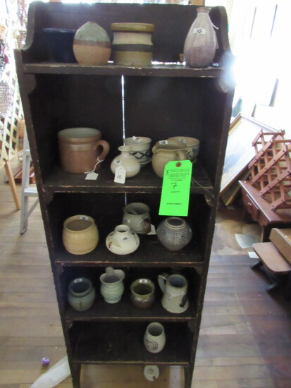 Painted Wood Shelf Unit w/ Hand Made Pottery Collection
