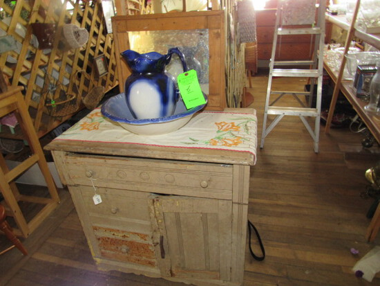 Modern Pine 3-Drawer Commode, including Wash Basin & Pitcher