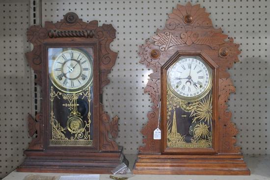 (2) Antique Gingerbread Mantle Clocks
