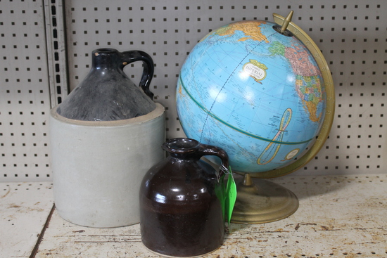 (2) Antique Stoneware Jugs (1) Vintage Globe