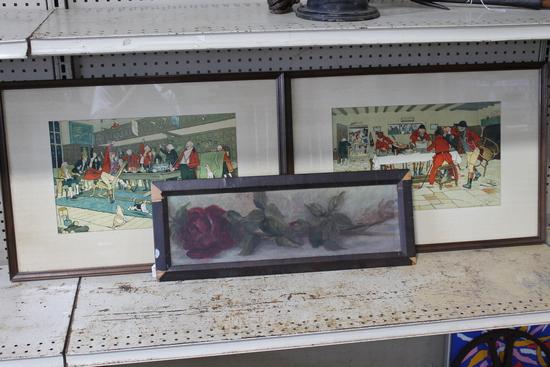 (2) Framed Prints (1) Oil on Canvas