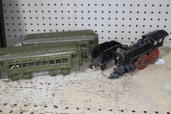 Antique Cast Iron Child Railroad Engine with Cars