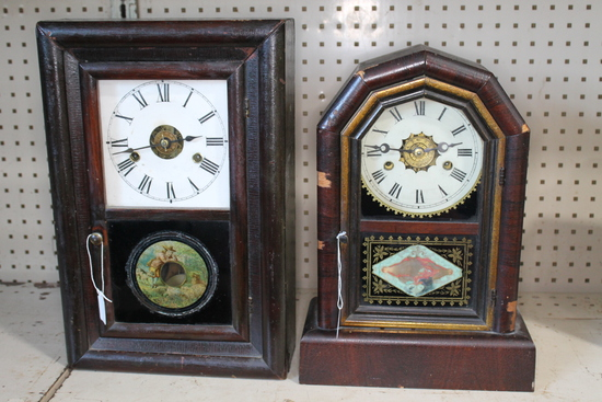 (2) Antique Mantle Clocks with wood cases and alarms