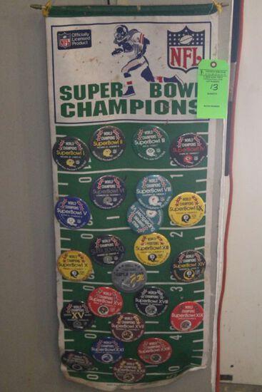 (23) NFL Commemorative Pins w/ Banner