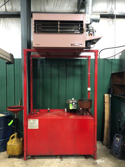 Reznor RA250 Waste Oil Furnace w/ Tank Stand