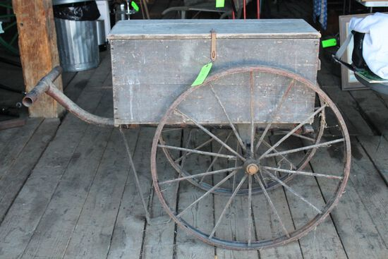 Antique Iron Wheeled Cart w/ Wooden Box