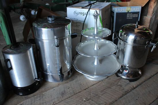 (3) Coffee Urns & Appetizer Tray