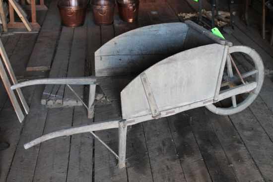 Antique Wooden Wheelbarrow