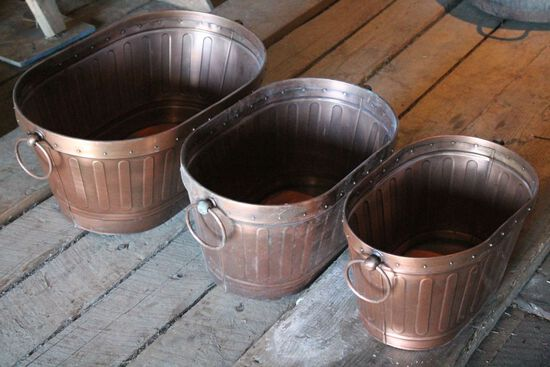 (3) Graduated Copper Tubs