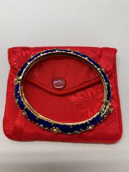 Jack Gutschneider 14K Yellow Gold & Cobalt Enamel Bangle Bracelet