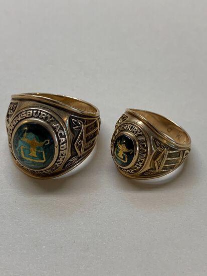 (2) St. Johnsbury Academy 10K Yellow Gold Class Rings