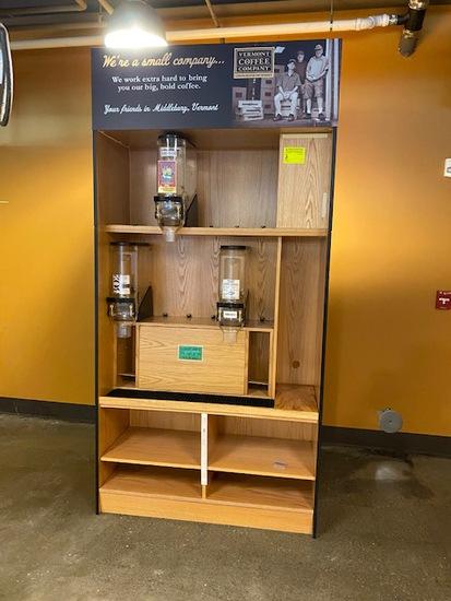 Oak Finish Dispenser Shelf with (3) Bulk Bins