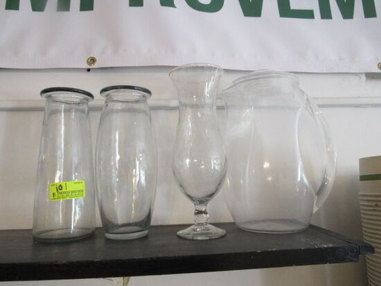 (3) Glass Vases and (1) Poly Pitcher