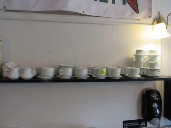 (53) Porcelain Coffee Cups, Espresso Cups, Creamers