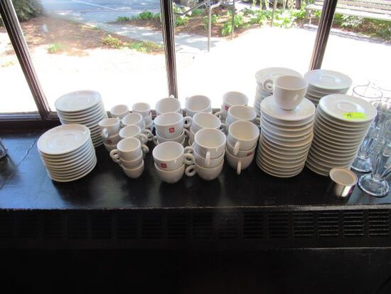 Illy Porcelain:  (18) Espresso Cups; (27) Coffee Cups; Abundance of Saucers