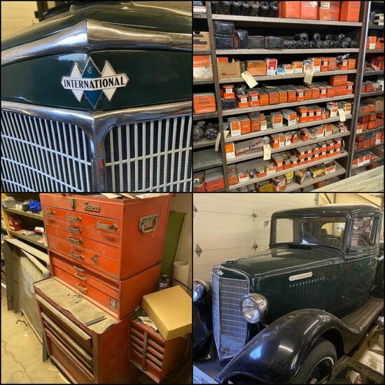 '35 International C1 Truck, NOS Auto Parts & Tools