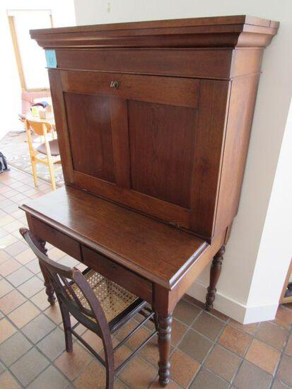 Antique Mahogany Turned Leg Desk & Cane Seat Chair