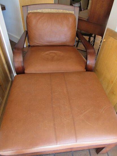 Leather Armchair w/Ottoman